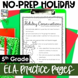 Christmas Themed No Prep English Language Arts Pages