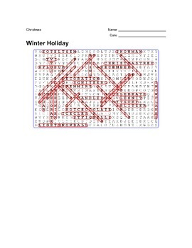 Christmas - Winter Holiday - Wordsearch Puzzle