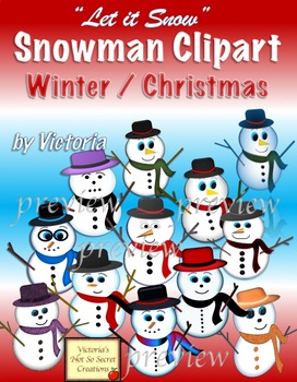 Christmas Winter Holidays ~ Sassy and Cute Snowman ~ Clipart