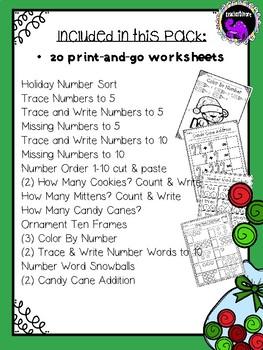 Christmas/Winter Math Worksheets for Pre-K and Kindergarten
