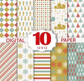 Christmas Winter Papers/Christmas Digital Sheets/Printable Christmas patterns