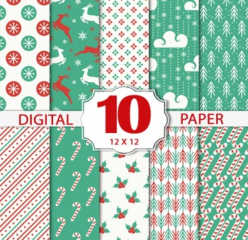 Christmas Winter Papers/Christmas Digital Sheets/Printable Christmas patterns