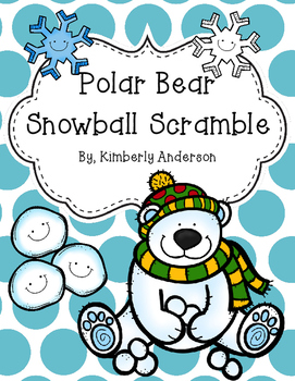 Christmas / Winter Polar Bear Word Snowball Scramble - Sight Words