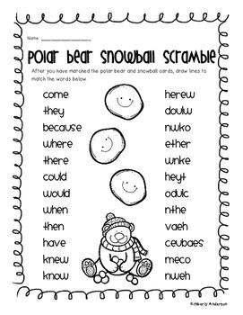 Christmas / Winter Polar Bear Word Snowball Scramble - Sight Words