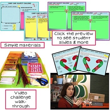 Christmas - Winter STEM Challenge Candy Cane Calamity 1:1 PAPERLESS