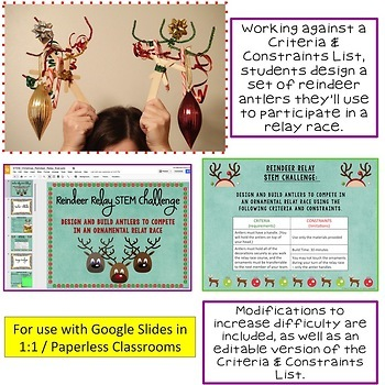 Christmas - Winter STEM Challenge Reindeer Relay 1:1 PAPERLESS