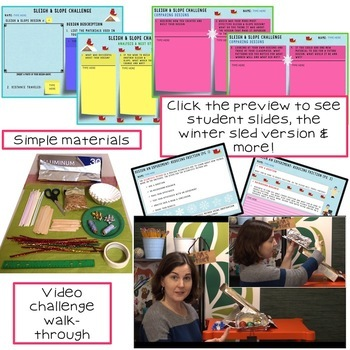 Christmas - Winter STEM Challenge Sleigh or Sled and Slope 1:1 PAPERLESS