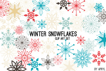 Christmas Winter Snowflakes Clip Art Blue Coral Holiday Commercial Use