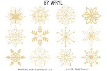 Christmas Winter Snowflakes Clip Art Red Green Holiday Commercial Use