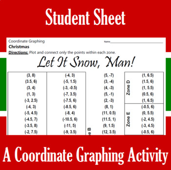 Christmas - Let it Snow, Man! - A Coordinate Graphing Activity