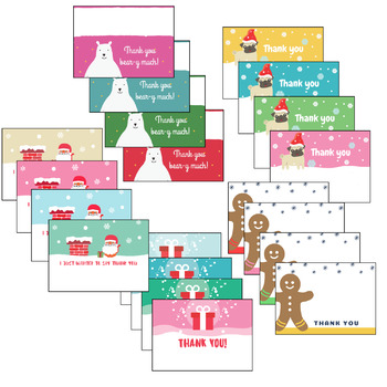 Christmas Winter Thank You Note Cards
