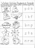 Christmas Winter Words Beginning and Ending Sounds Worksheets