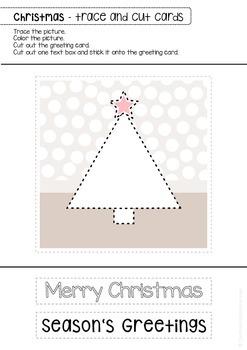 Christmas Winter tracing & cutting - DIY greeting cards - art work center - OT
