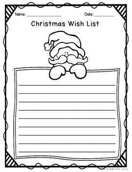 Christmas Wish List Paper