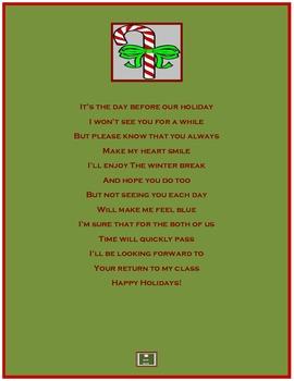 Christmas Wishes/Christmas Thank You Poem