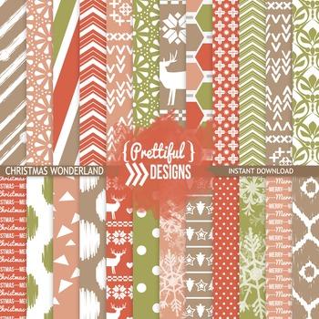 Christmas Wonderland Digital Background Paper Commercial Use