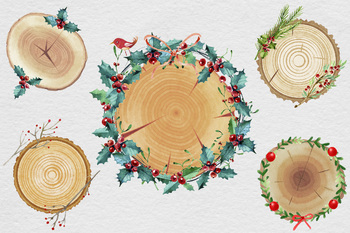 Christmas Wood Slices Clipart, Watercolor Christmas Clipart, Watercolor Wreaths