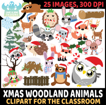 Christmas Woodland Animals Clipart | Instant Download Vector Art