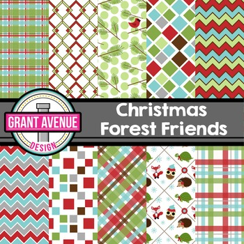 Christmas Forest Friends Digital Papers