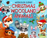 Christmas Woodland Animals Watercolor Clipart   Instant Do
