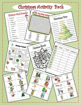 Christmas Word Activity Fun Pack (wordsearch crossword word scramble  charades)