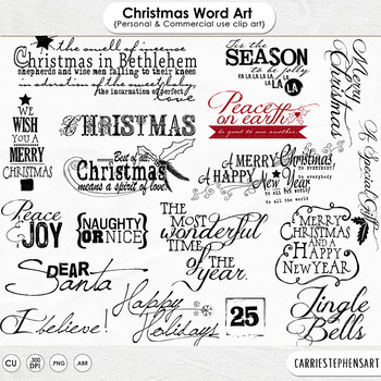 Christmas Word Art Quotes, Happy Holidays