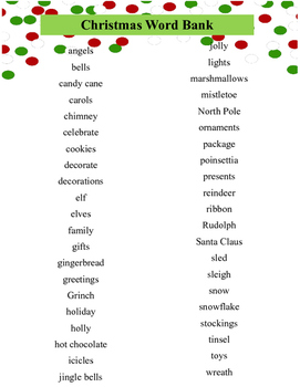 Christmas Word Bank