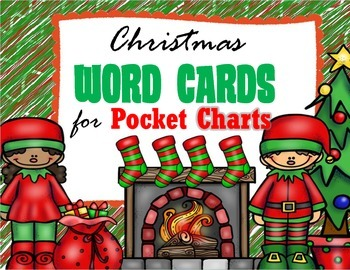 Illustrated Christmas Word Cards for Pocket Charts