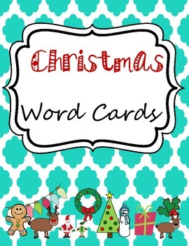 Christmas Word Cards for Writing Center or Word Wall