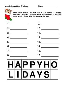 Christmas Word Challenge