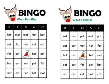 Christmas Word Family Bingo (-at Family)