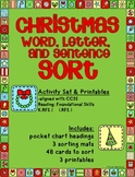 Christmas Word, Letter, and Sentence Sort Activity Set & Printables