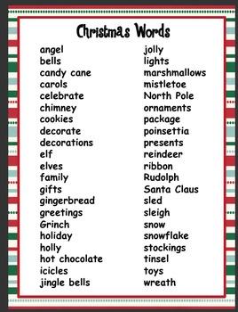 christmas word list by christa swaney teachers pay teachers