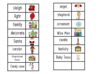 Christmas Word Lists