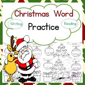 Christmas Word Practice - Writing Practice