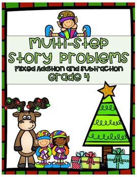 Christmas Word Problem Bundle- Fourth Grade