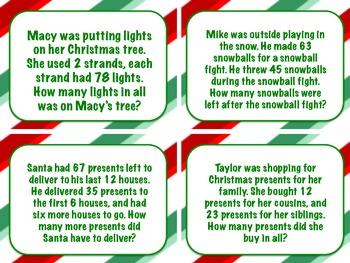 Christmas Word Problem Task Cards