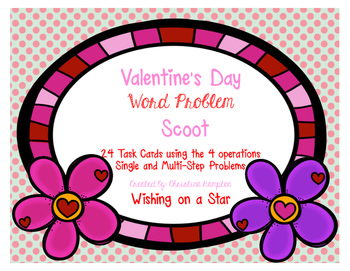 Valentine's Day Math Word Problem Scoot Task Cards