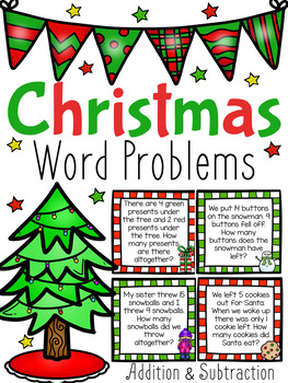 Christmas Word Problem Task Cards - Addition and Subtraction