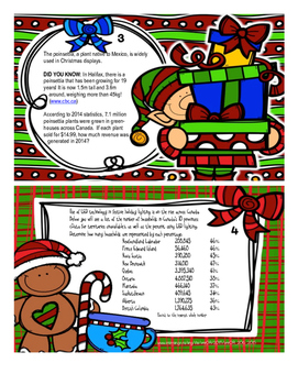Christmas Word Problem Task Cards - Canadian
