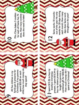 Christmas Word Problem Task Cards