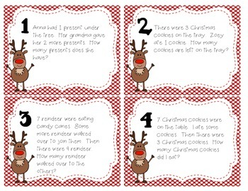 Christmas Word Problem Task Cards & Game Board