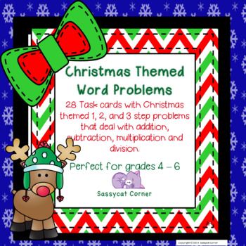 Christmas Word Problem Task Cards for the Upper Grades