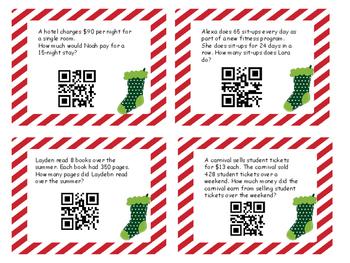 Christmas Multiplication Word Problem Task Cards