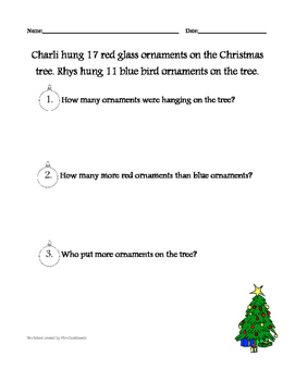 Christmas Word Problem Worksheet