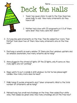 Christmas Word Problems: 1st Grade