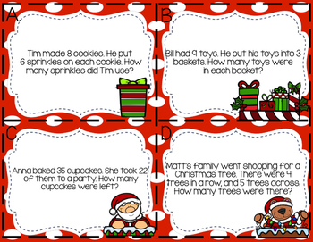 Christmas Word Problems Scoot