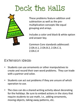 Christmas Word Problems: 2nd Grade