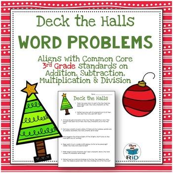 Christmas Word Problems: 3rd Grade