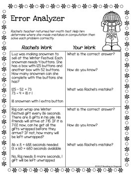 Winter Word Problems: 4th Grade